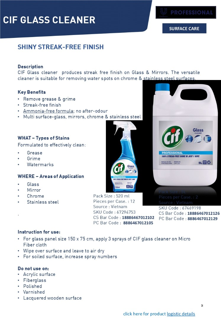 67469198 - CIF GLASS CLEANER